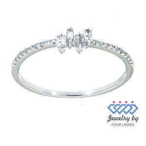 Natural Baguette Diamond Dainty Ring White Gold